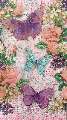5 Single Paper Napkins Decoupage Butterflies Roses Craft Guest Towels Pooch