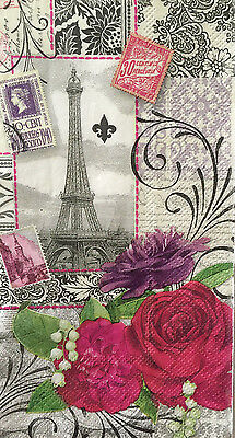 5 Single Paper Napkins Decoupage Paris Eiffel Roses Craft Guest Towels Pooch