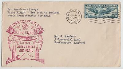Usa 1939 First Flight Cover New York To Southampton Panam