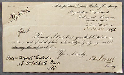 Metropolitan District Railway 1 Jun 1895 letter re stock certificate
