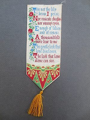 Antique BOOKMARK Woven Silk Stevengraph T Stevens Verse Love Tis Not the Lily