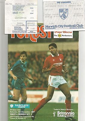 Notts Forest v Norwich City 9th December 1989 Including TICKETS