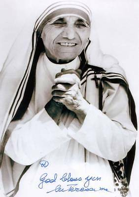 MOTHER TERESA autographed Missionary of Charity Roman Catholic Nun Sister 4 x 6