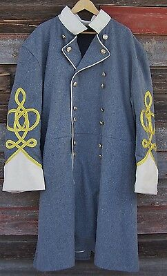 civil war confederate frock coat with 4 row braids with pleats 50