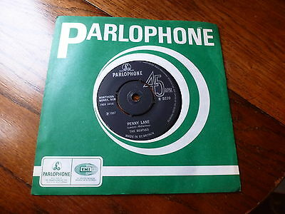 """The Beatles Parlophone Penny Lane / Strawberry Fields Forever 7"""" Vinyl 45 Rpm"""