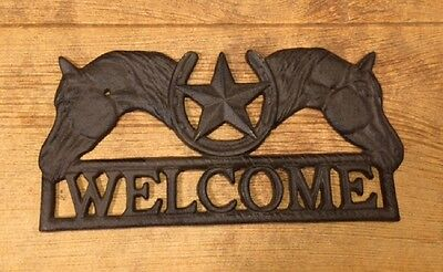 """Cast Iron Horse Star Welcome Sign 13 1/4"""" wide Home Decor Supplies 0184S-1001"""