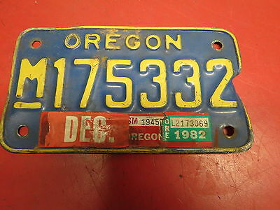 Vintage Blue Oregon Motorcycle License Plate 82 Tag