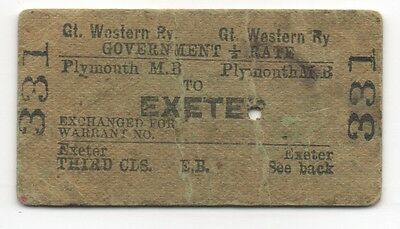 GWR Government 1/2 rate single ticket Plymouth Millbay to Exeter dated 1910