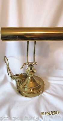 Vintage Brass Bankers Piano Lamp Desk Table Office Study W/Defect