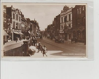 Doncaster French Gate Animated Scene Shop Fronts & Cars RPPC P/M Woodlands 1934