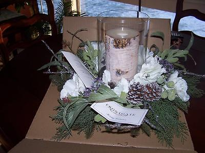 New Frontgate Christmas Centerpiece Hurricane Winter White Centerpiece