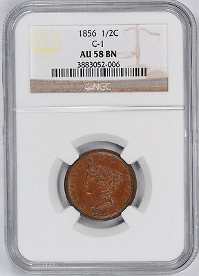 1856 Braided Hair Half Cent C-1 1/2C NGC AU 58 BN About Uncirculated