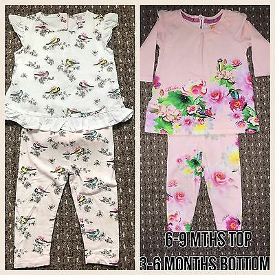 TED BAKER Baby Girls Top Leggings Vest Outfit Bundle. Age 3-6 Months BIRD FLORAL