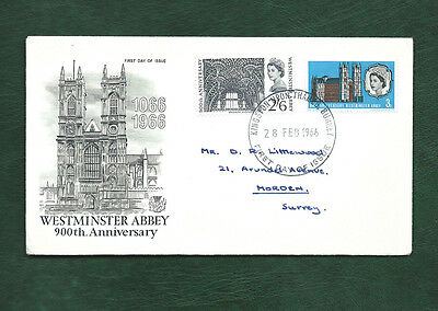 GB 1966 Westminster Abbey ordinary set on illustrated FDC