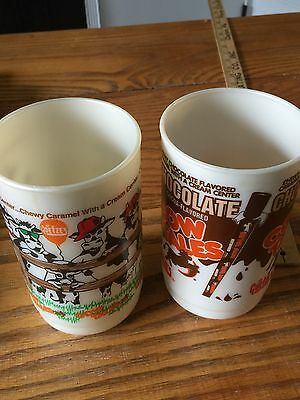 Whirley Industries Goetze's Cow Tales Candy Plastic Cup Lot/2