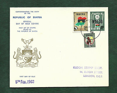 Nigeria 1968 Republic of Biafra stamps on illustrated FDC