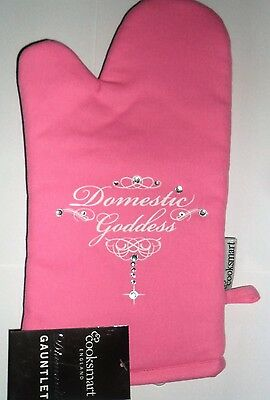 Pink Glamorous Diamante Oven Glove  (Domestic Goddess) 100% Cotton Outer