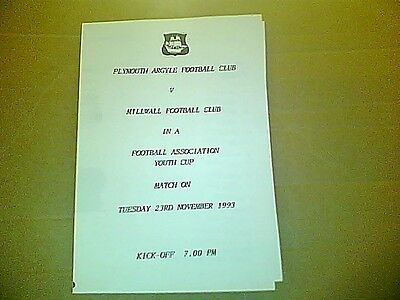 PLYMOUTH ARGYLE v MILLWALL F.A. YOUTH CUP 1993/4
