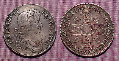 1672 King Charles Ii Silver Crown  - V. Qvarto