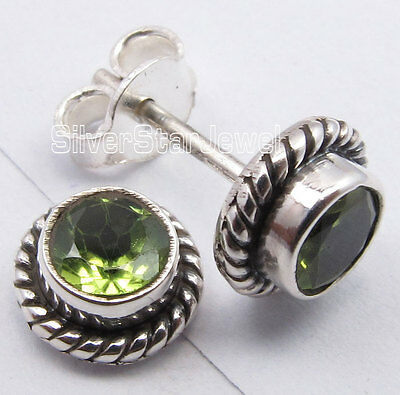 RETRO STYLE ! 925 SOLID Silver PERIDOT FASHIONABLE Studs Earrings 1/4 inches NEW