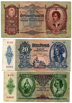 HUNGARY - 3  great  different   10 20 / 50  pengo    -  1931 / 1932 / 1936 !!