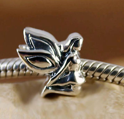 Genuine SOLID 925 Sterling silver charm bead fairy guardian angel fit bracelet