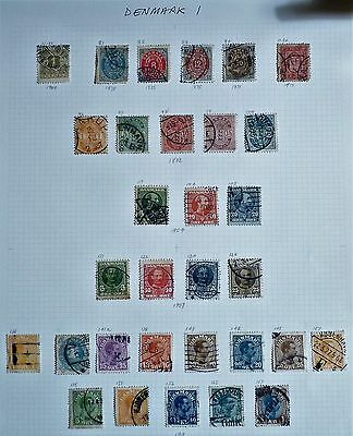 Denmark - Full page of VG/Used stamps from 1875 to 1913