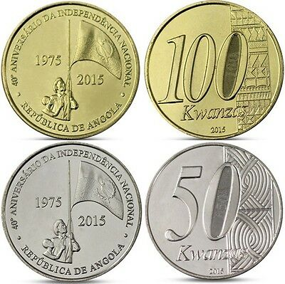 Angola set 2 coins 50 100 Kwanzas 40 years Independence Portugal 2015 Africa UNC