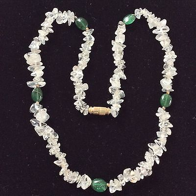 Pretty Vintage Tumbled Rock Crystal Chip & Green Aventurine? Bead Necklace