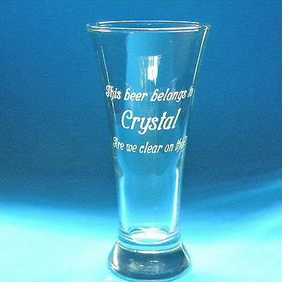 5 Personalized Pilsner Beer Glasses 19. oz Lrg Clear Engraved Wedding Birthday