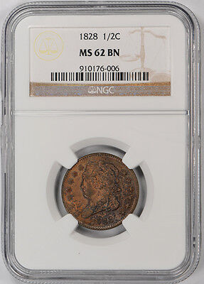 1828 Classic Head Half Cent 1/2C NGC MS 62 BN Uncirculated Brown