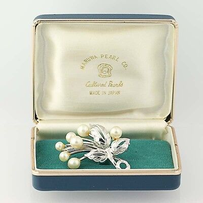 Cultured Pearl Flower Brooch - Vintage Silver Maruwa Japan Women's Pin Floral