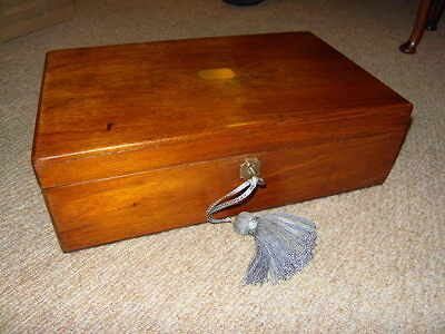 ANTIQUE WRITING SLOPE ** mahogany with brass + key , Victorian ** RESTORED