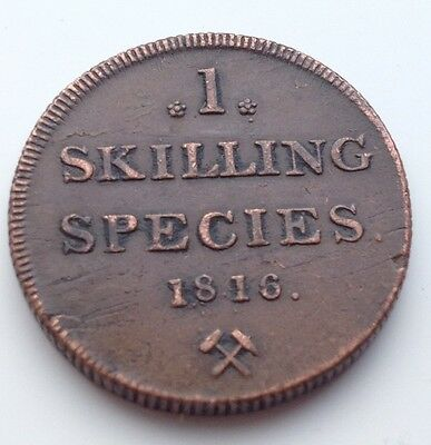 Decent 1816 Norway 1 Skilling Coin