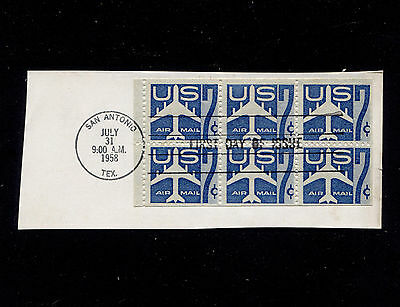 1958 Sc#C51a 7c Air Mail Booklet Pane with FDC Cancel