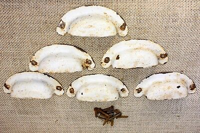 6 old Bin Drawer vintage Pulls handles rustic tin antique white paint 3 1/2""
