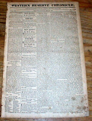 1828 WARREN Trumbull Co OHIO newspaper - Construction of B and O RAILROAD begins