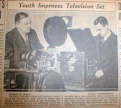 1930 newspaper w photo showing PHILO FARNSWORTH & HIS INVENTION of TELEVISION