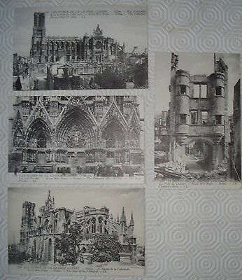Collection of 4 x Reims postcards showing World War I destruction