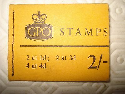 GB 2/- stamp booklet, fully intact with 4 x 4d, 2 x 1d and 2 x 3d stamps