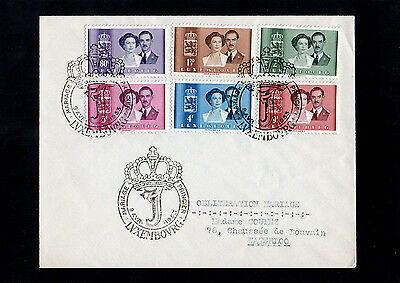 Luxembourg 1953 Royal Wedding First Day Cover With Royal Crown Postmarks