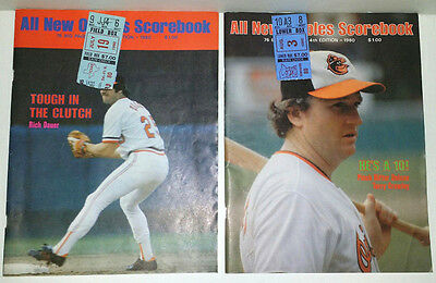 (2) Different 1980 Baltimore Orioles Game Programs Scored With (4) Ticket Stub