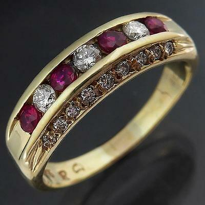 Eye-catching Lgr Size RUBY & DIAMOND 9ct Solid Yellow GOLD ETERNITY RING Sz R