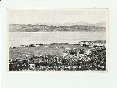 Battery Park And River Clyde, Greenock. Vintage Postcard.