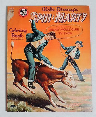 B728. VINTAGE Walt Disney's SPIN and Marty Mickey Mouse Club Coloring Book 1956