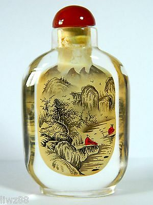 Chinese Hand Inside Drawing Crystal Snuff Bottle,Mountain Landscape Pattern