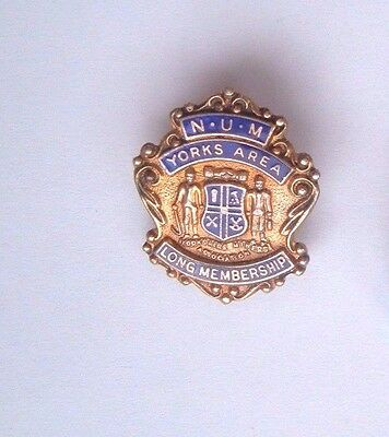 Solid Silver Long Service   Colliery  Miners Mineworkers Trade Union Badge