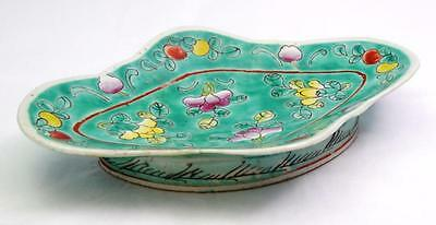 Antique Chinese Porcelain Dish Bowl Unusual Shape Hand Painted