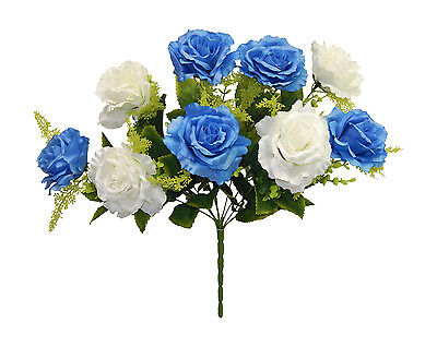 CREAM & BLUE Centerpieces Roses Silk Wedding Flowers Decoration Bridal Bouquet