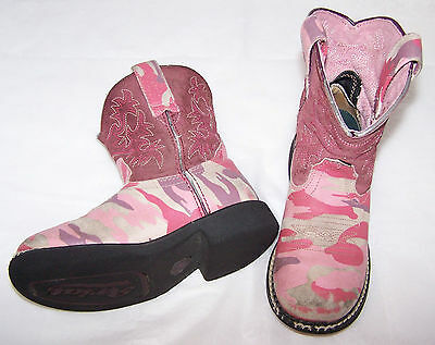 Girls Pink and Camo Ariat Cowboy Cowgirl Boots Youth sz 12